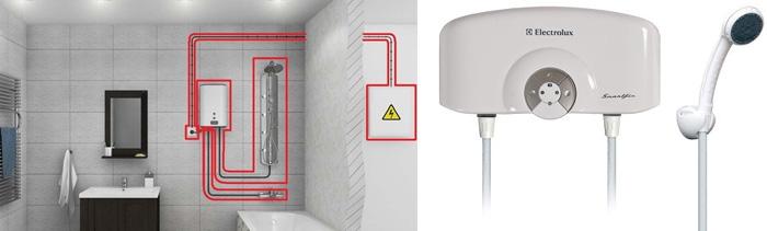 Установка и подключение проточного водонагревателя