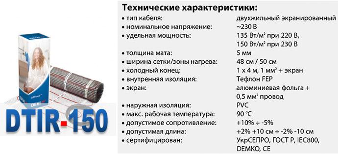 Характеристики Devimat DTIR-150